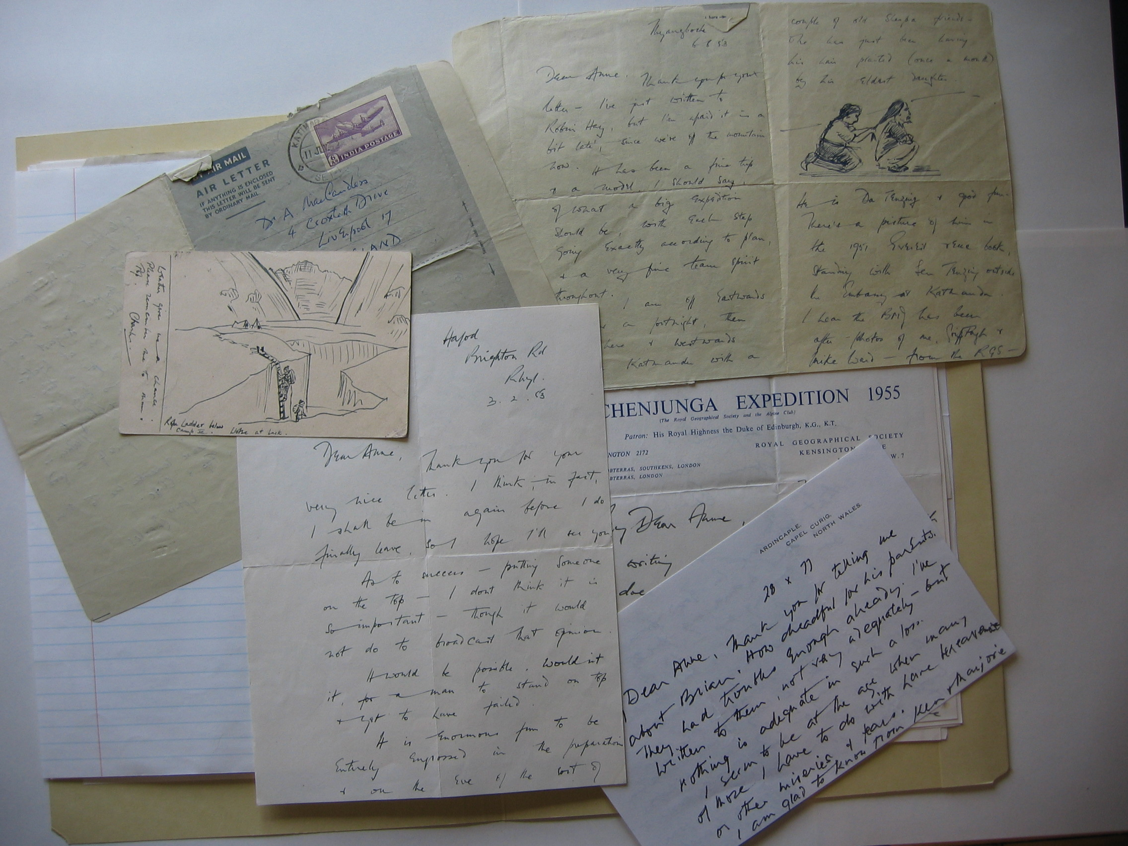 Letters from Sir Charles Evans, Charles Evans Collection, copyright MHT