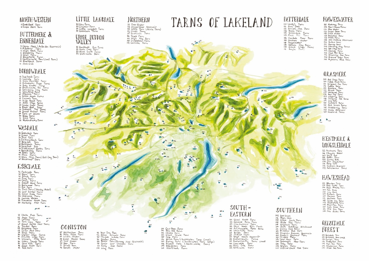 Map of Lake District tarns